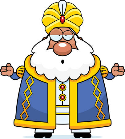 A cartoon illustration of a sultan looking confused.