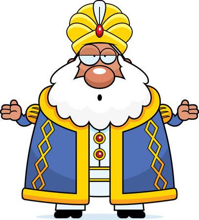 sultano: Un fumetto illustrazione di un sultano ricerca confusa.