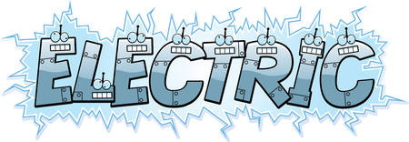 electrocuted: A cartoon illustration of the text Electric with a robot theme.