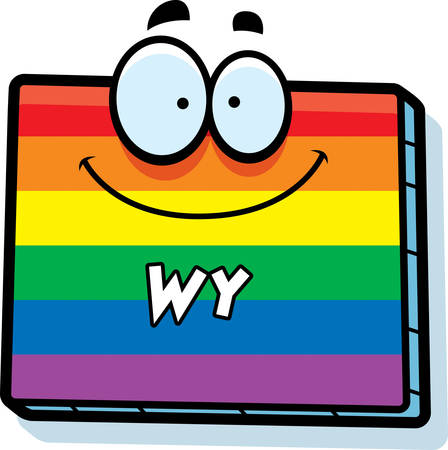 rainbow flag: A cartoon illustration of the state of Wyoming smiling with rainbow flag colors.