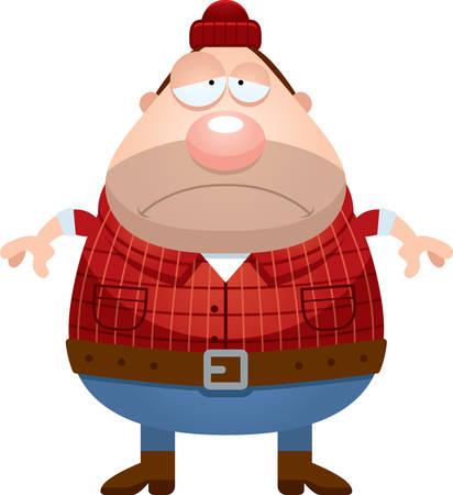 A cartoon illustration of a lumberjack looking sad. Ilustracja