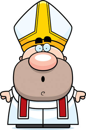 pope: A cartoon illustration of a pope with a surprised expression.