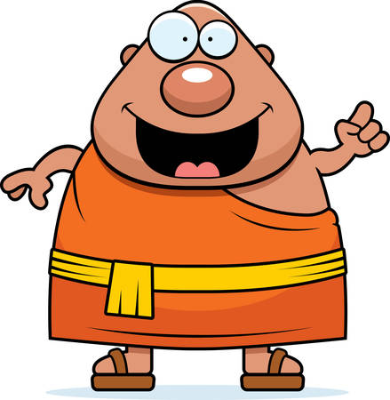 Eine Karikaturillustration der ein buddhistischer Mönch mit einer Idee. Standard-Bild - 44482001