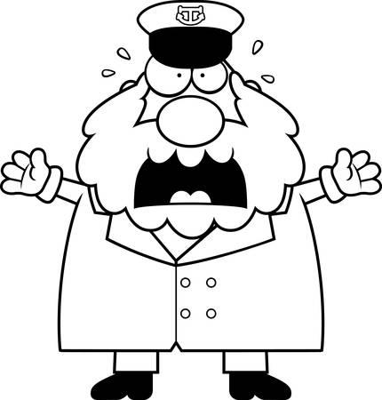 A cartoon illustration of a sea captain looking scared. Stock Illustratie