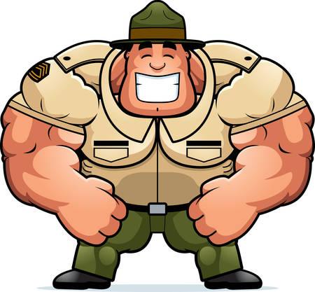 Una ilustración de dibujos animados de un sargento de instrucción musculoso sonriendo.