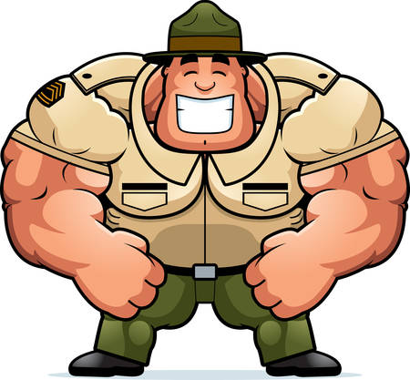 A cartoon illustration of a muscular drill sergeant smiling. Vectores
