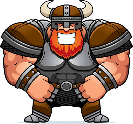 A cartoon illustration of a muscular Viking smiling.