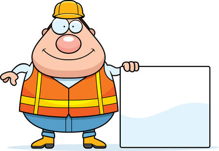 road worker: A cartoon illustration of a road worker with a sign.