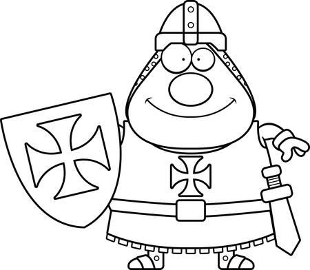 templar: A cartoon illustration of a Templar knight looking happy. Illustration