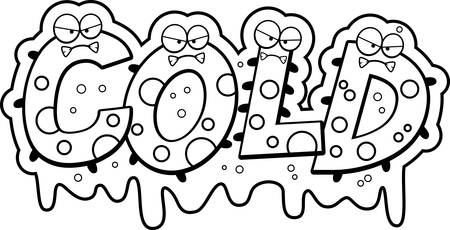slimy: A cartoon illustration of the text Cold with a slimy germ theme.