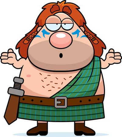 A cartoon illustration of a Celtic warrior looking confused. 向量圖像