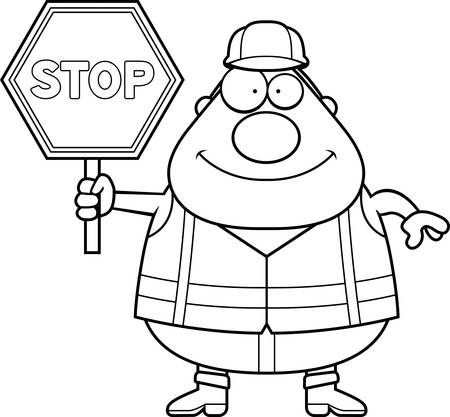 road worker: A cartoon illustration of a road worker with a stop sign. Illustration