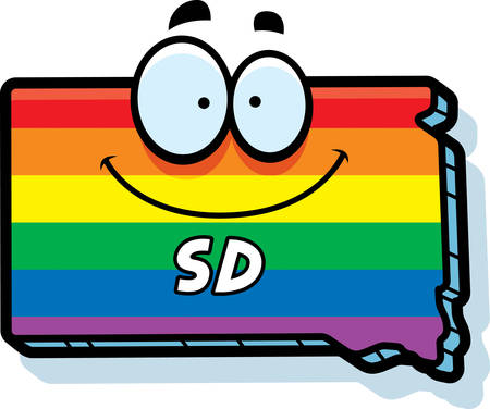 rainbow flag: A cartoon illustration of the state of South Dakota smiling with rainbow flag colors.
