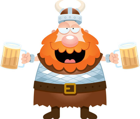 A cartoon illustration of a Viking drinking beer. 矢量图像
