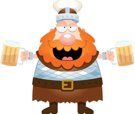 A cartoon illustration of a Viking drinking beer. Stock Illustratie