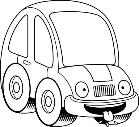 A cartoon illustration of a car looking hungry.