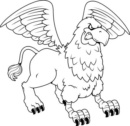griffin: A cartoon illustration of a griffin looking angry. Illustration