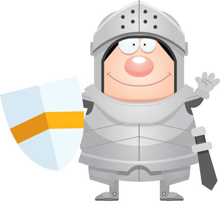 A cartoon illustration of a knight waving.