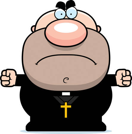 A cartoon illustration of a priest with an angry expression.