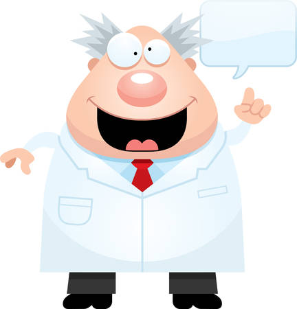 A cartoon illustration of a mad scientist with an idea. Ilustrace