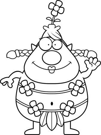 sprite: Una ilustraci�n de dibujos animados de un ondear de sprites bosque. Vectores
