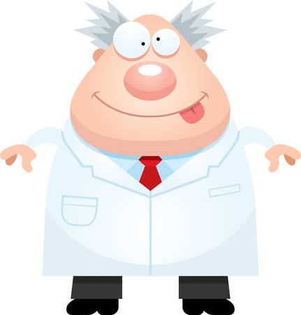 researcher: A cartoon illustration of a mad scientist looking happy.