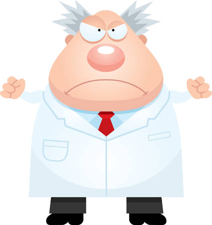 A cartoon illustration of a mad scientist looking angry.