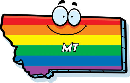 rainbow flag: A cartoon illustration of the state of Montana smiling with rainbow flag colors.
