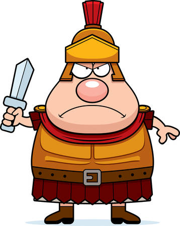 A cartoon illustration of a Roman Centurion looking angry.