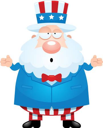 A cartoon illustration of Uncle Sam looking confused. Illustration