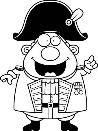 admiral: A cartoon illustration of a British Admiral with an idea.