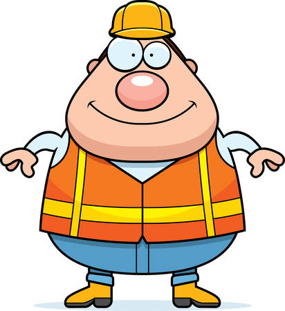hard: A cartoon illustration of a road worker looking happy.