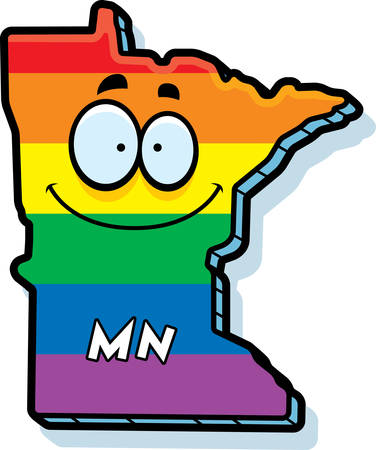 gay marriage: A cartoon illustration of the state of Minnesota smiling with rainbow flag colors.