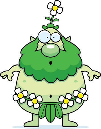 sprite: A cartoon illustration of a forest sprite looking surprised. Illustration
