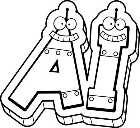 Een cartoon illustratie van de tekst AI met een robot thema.
