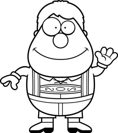 lederhosen: A cartoon illustration of a German boy in lederhosen waving. Illustration
