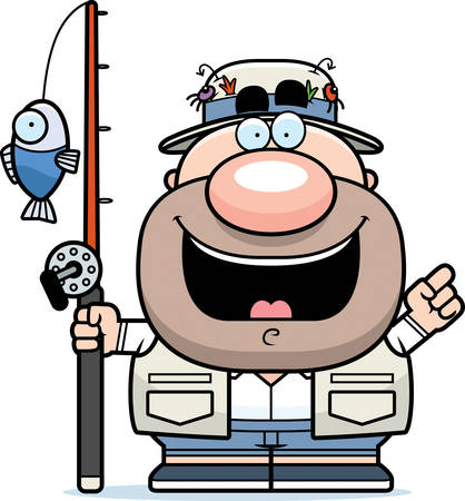 fishing reel: A cartoon illustration of a fisherman with an idea. Illustration