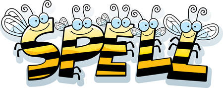 A cartoon illustration of the text Spell with a bee theme. Çizim