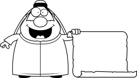 sheik: A cartoon illustration of a sheikh with a sign. Illustration