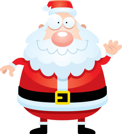 clip art santa claus: A cartoon illustration of Santa Claus waving.