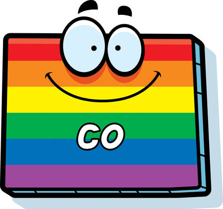 state of colorado: A cartoon illustration of the state of Colorado smiling with rainbow flag colors.