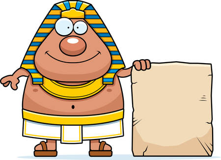 A cartoon illustration of an Egyptian Pharaoh with a sign. Ilustrace