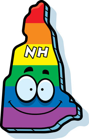 rainbow flag: A cartoon illustration of the state of New Hampshire smiling with rainbow flag colors.