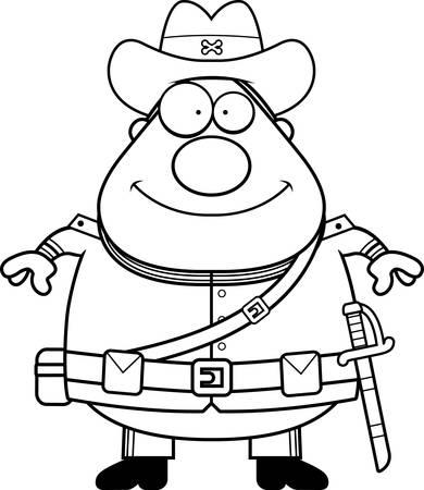 civil war: A cartoon illustration of a Civil War Confederate soldier looking happy.