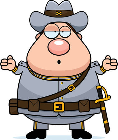 civil war: A cartoon illustration of a Civil War Confederate soldier looking confused. Illustration