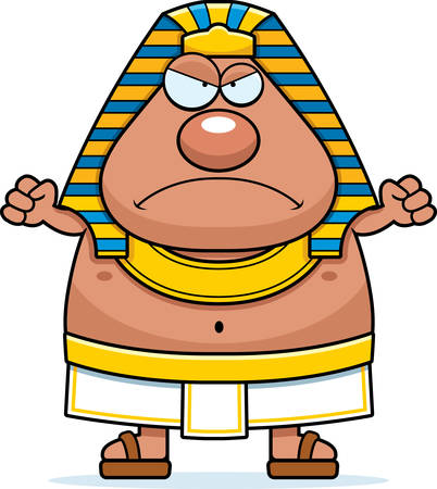 A cartoon illustration of an Egyptian Pharaoh looking angry. Ilustrace