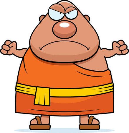 A cartoon illustration of a Buddhist monk looking angry. Ilustração
