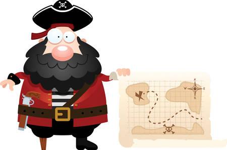 carte trésor: Une illustration de bande dessinée d'un pirate avec une carte au trésor.