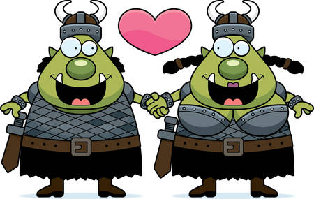 couple holding hands: A cartoon illustration of an orc couple holding hands and in love.