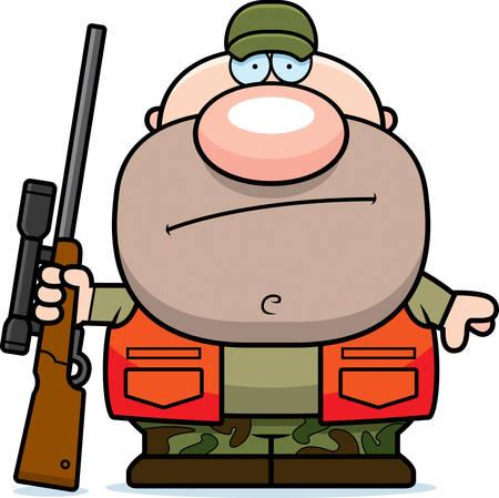 A cartoon illustration of a hunter looking bored.